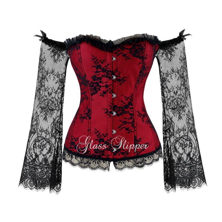 N214918/RED BLK LACE SLEEVE CORSET/SML-6XL/R799.95